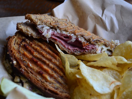 The Reuben at Common Grounds Coffee has a wonderful crusty exterior. It's a little different from other versions as it is served with Havarti and rye bread baked in-house. The Russian dressing on the sandwich is excellent.