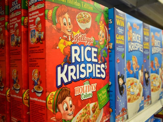 Rice Krispies cereal boxes all come with the original Rice Krispies treat recipe on the side. With Christmas coming up, a holiday colors version of the cereal is out.
