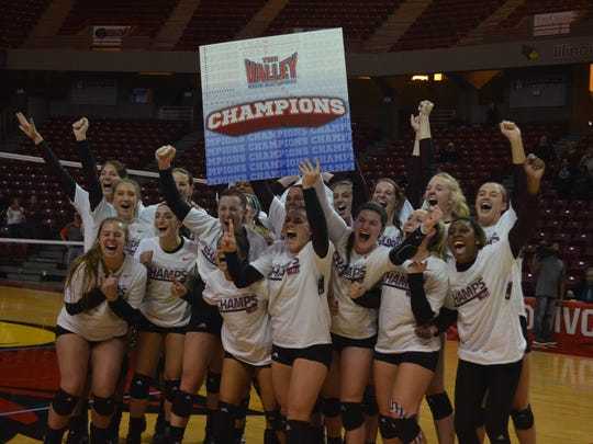 Missouri State volleyball players celebrate their Missouri