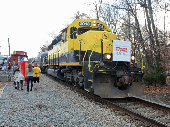 Operation Toy Train  arrives at Wortendyke station in Midland Park on Dec. 12, 2015.