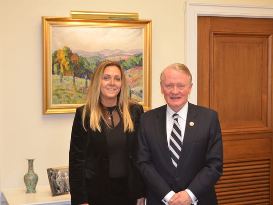 U.S. Rep. Leonard Lance and Kim Van Note, Basilone's niece and a leader in the Basilone Foundation.