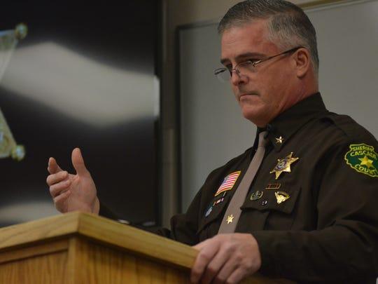 Sheriff Bob Edwards speaks to Cascade County's newest deputies on Tuesday, Jan. 2, 2018.