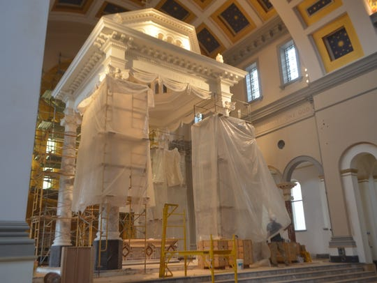 Interior shot of the work of Sacred Heart Cathedral.