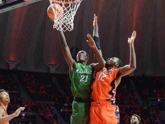 Former Lee High star Darius George (21) is back from an injury and hoping to regain his form for the Marshall Thundering Herd this year.