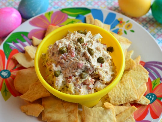 This salmon dip uses two boiled eggs and is sure to