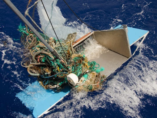 Floating debris in the Great Pacific Garbage Patch is attempted to be collected in 2015.