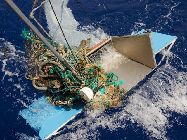 Floating debris in the Great Pacific Garbage Patch is collected in 2015.