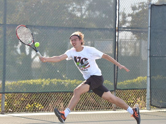Solal Cherqui, a 6-foot-1 freshman from Paris, France, is the Ventura College men's tennis team's No. 1 singles player.