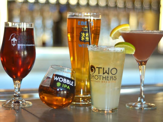 Many drinks are available at Two Brothers Tap House