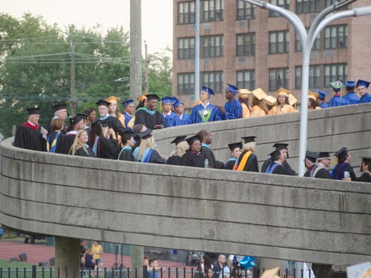Hackensack High School graduating seniors lining up