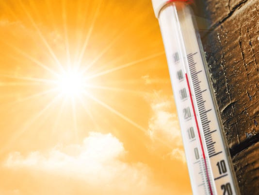 Thermometer is hot in the sky, concept of hot weather.