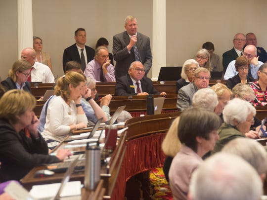 Rep. Kurt Wright, R-Burlington, speaks in the House of Representatives on Monday, June 25, 2018 at the Statehouse in Montpelier.