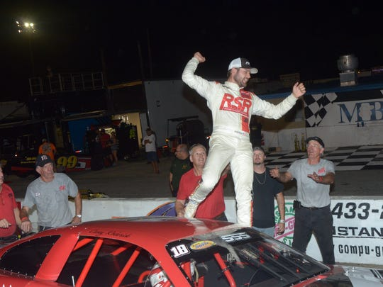 Casey Roderick celebrates after another win at Five Flags Speedway