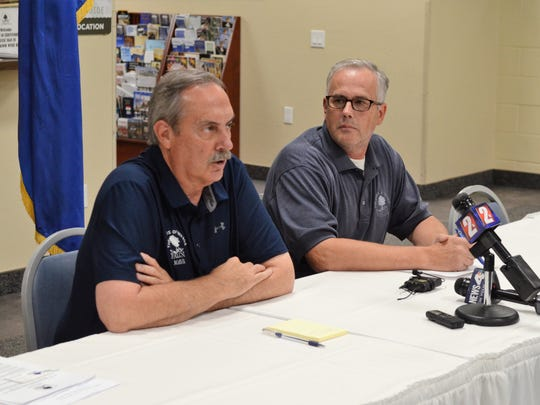 Fallon Mayor Ken Tedford, left, and Chief of Police Kevin Gehman speak at a Sunday evening news conference.