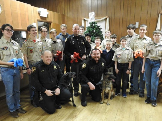 Boy Scout Troop 403 recently donated 96 Shiny Dogs to the Coshocton County Sheriff's Office to give to children they interact with on calls.