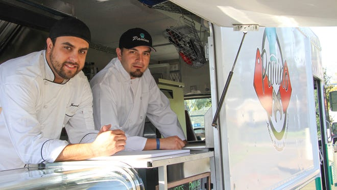 Jered May, left, and Jose Montano are partners in Panino food truck. Photographed Oct. 21, 2015.