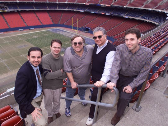 Former Record sportwriters from left, Paul Dottino,