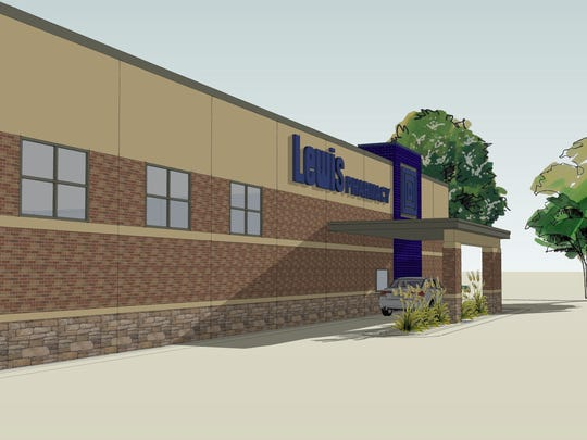 An architectural rendering of the the pharmacy drive-through