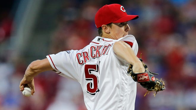 Cincinnati Reds relief pitcher Kyle Crockett (51) delivers a pitch in the sixth inning of the MLB National League game between the Cincinnati Reds and the Chicago Cubs at Great American Ball Park in downtown Cincinnati on Friday, June 22, 2018. The Reds won 6-3.