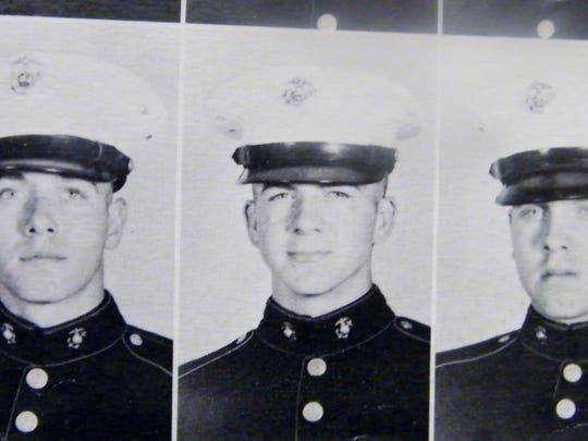 Lee Harvey Oswald's head shot in his Marine yearbook. Six Evansville men completed Marine boot camp with Oswald in 1956.