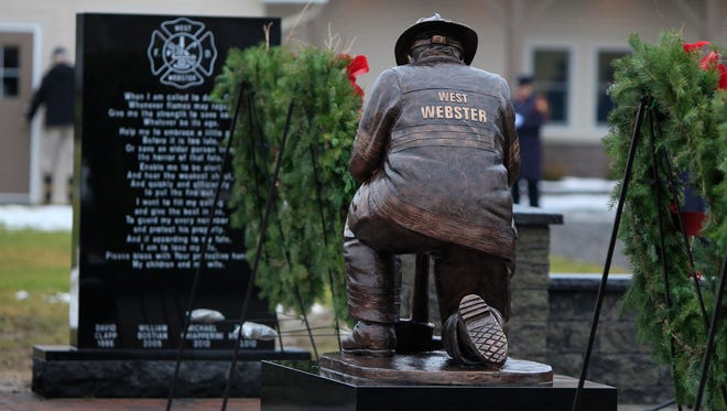 The West Webster (N.Y.) Fire Department dedicated the West Webster Fallen Firefighters Memorial behind their firehouse on Sunday, Dec. 22, 2013. The memorial honors fallen firefighters David J. Clapp, William C. Bostian, Michael J. Chiapperini and Tomasz M. Kaczowka. Chiapperini and Kaczowka were killed Christmas Eve 2012 when the firefighters were ambushed by William Spengler Jr., who set fire to his home and vehicle.