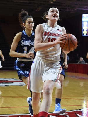Marist College's Maura Fitzpatrick drives to the basket against Saint Peter's at Marist.