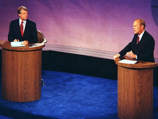 Jimmy Carter and Gerald Ford take part in a presidential