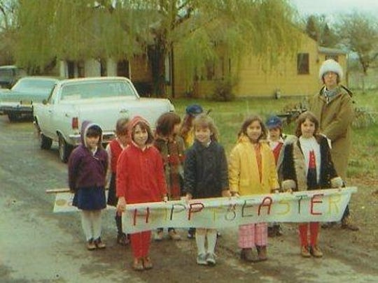 Campfire Girls Bluebird group ready to march in the 1976 Donald Easter Parade.