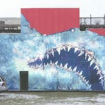 This artist's rendering depicts a conceptual Shark Toof mural on the old Dr. Joe's Intracoastal Lounge wall, facing the Eau Gallie Causeway.