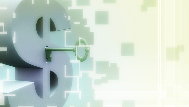 US dollar sign with keyhole and key.