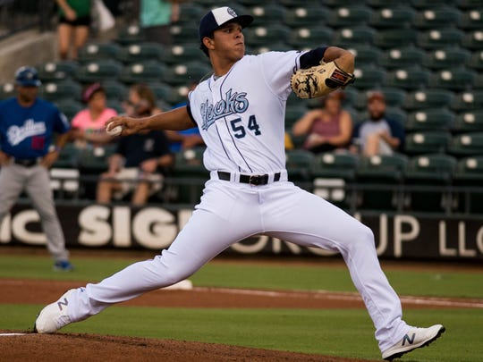 Hooks pitcher Franklin Perez throws against the Tulsa