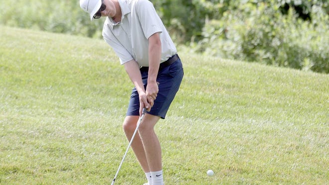 Boonville graduated senior Jake Horst chips on the No. 7 green Thursday during the Mid-Missouri High School Summer Series at Hail Ridge Golf Course in Boonville. Horst finished sixth overall out of 14 golfers with a 11-over par 82. Joseph Falls of Father Tolton finished first with a 2-under par 69. For the girls, Sydney Willingham of Rock Bridge finished first with a 6-over par 77. The purpose of the summer series is to provide opportunities for high school age golfers in mid-Missouri to play competitive rounds over the summer.