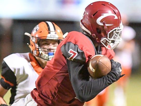 Crockett County's Emanuel Jordan makes a catch as a
