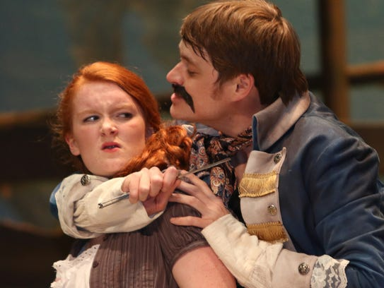 Molly (Orla Budge) is threatened by Black Stache (Christopher