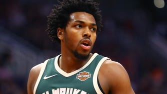 Milwaukee Bucks guard Sterling Brown against the Phoenix Suns at Talking Stick Resort Arena.