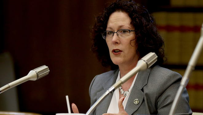 Chair Val Hoyle speaks during a meeting of the House Committee on Rules on Senate Bill 941, which would require background checks for private gun sales and transfers, at the Oregon State Capitol in Salem on Wednesday, April 22, 2015.