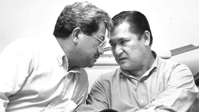 """Former Guam Gov. Joseph Ada, right, served in the island's highest elected office from 1987 to 1994. His lieutenant governor was Frank Blas, Jr. Blas died Monday at age 75. Ada told Pacific Daily News Wednesday that he """"lost a best friend and a very, very loyal lieutenant governor."""" The two are shown together in this 1991 PDN file photo."""