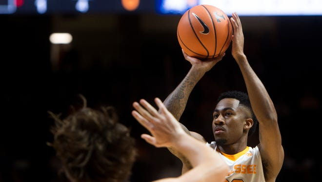 Tennessee guard Jordan Bowden (23) attempts a shot during Tennessee's home exhibition basketball game against Carson-Newman at Thompson-Boling Arena on Thursday, Nov. 2, 2017.