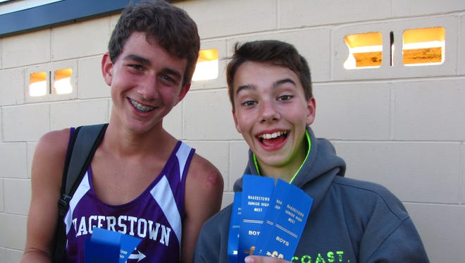 Eli Neal (left) and Quentin Osborne after a cross country meet in September 2016. As 7th graders they finished 2nd and 3rd  respectively in the TEC meet, and were lifelong friends before Neal passed away after getting hit by a truck in July 2017.