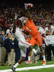Clemson defensive back Trayvon Mullen (1) breaks up a pass for Alabama Robert Foster(1) during the second quarter of the Sugar Bowl in the Mercedes-Benz Superdome in New Orleans on Monday.