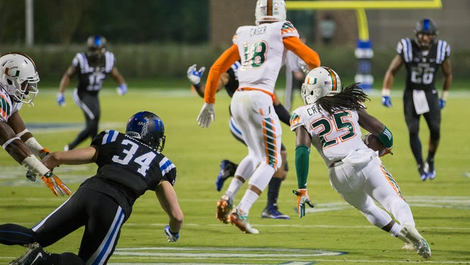 Miami's Dallas Crawford (25) returns a kickoff Oct. 31,  which featured multiple laterals before Corn Elder subsequently received the final lateral, and scored to beat Duke 30-27 in an NCAA college football game, in Durham, N.C.
