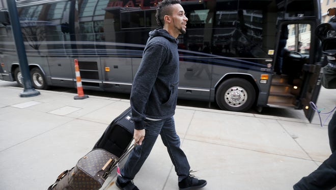 Reds outfielder Billy Hamilton leaves for Reds Caravan at the Reds Hall of Fame Thursday January 28, 2016. Hamilton will be on the South Tour with stops in Louisville, Cynthiana, and Madison, Indiana.