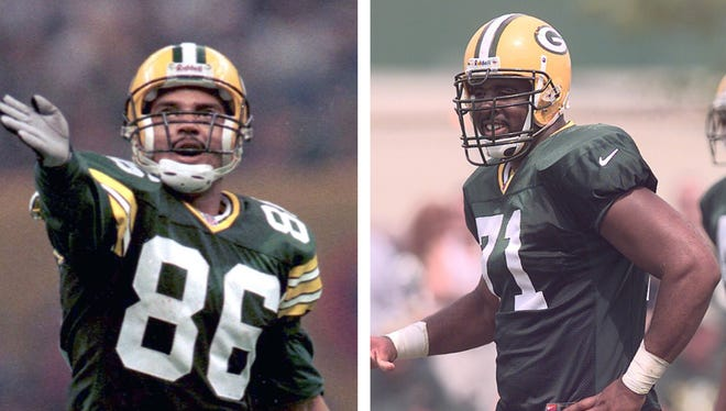 Left: Green Bay Packers wide receiver Antonio Freeman gestures for a first down after a long catch during Super Bowl XXXI in New Orleans on Jan. 26, 1997. Right: Packers defensive tackle Santana Dotson takes the line during training camp practice in 2000.