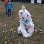 The Easter bunny demonstrates picking up eggs before gleefully tossing them in the air.