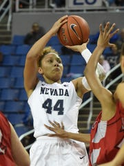 Nevada's Riana Everidge goes up to shoot against Holy Names during Tueday's game at Lawlor Events Center.