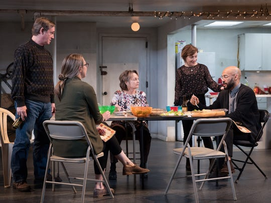 "Richard Thomas, Pamela Reed, Daisy Eagan, Luis Vega and Therese Plaehn in ""The Humans."""