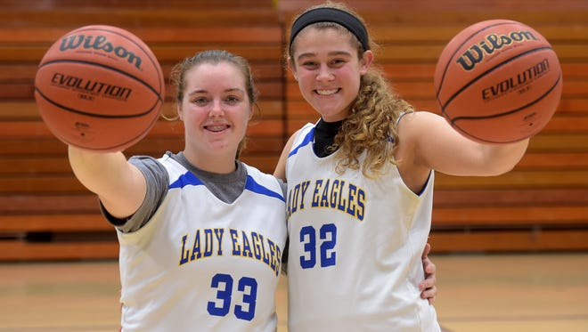 Lincoln High School girls basketball players Kerrigan Neff, left, and Kylei Klein pose for a photograph Friday, Oct. 28, 2016 in Cambridge City.