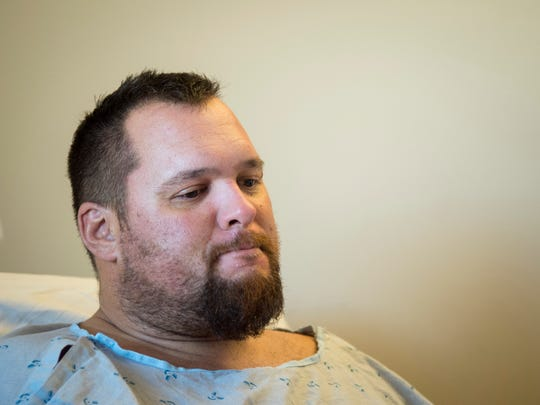 """Kevin Diepenbrock recalls his motorcycle accident and his rescue nearly 30 hours later while at the UT Medical Center on Monday, Oct. 24, 2016. Diepenbrock and his friend Phil Polito were riding their motorcycles on a stretch of U.S. Highway 129 known as """"The Dragon"""" on Saturday, Oct. 22, when the two collided. The crash had flung both men 105 feet down an embankment and out of sight of passing vehicles."""