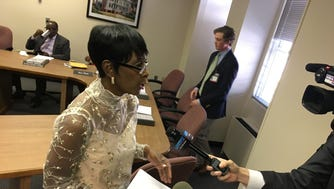 Rep. Juandalynn Givan, D-Birmingham, speaks to reporters after a meeting of the House Public Safety and Homeland Security Committee was canceled for lack of a quorum on March 21, 2018.