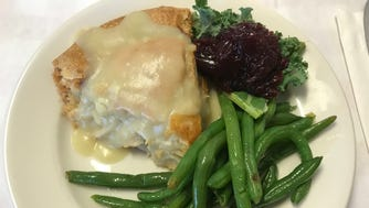 The main event at Centerville Pie Company and the dish that made Oprah's Favorite Things list is the Signature Chicken Pie, with nothing but lots of meaty chicken and gravy. It is on the menu every day and served with a veggie side and cranberry sauce.